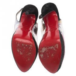 Christian Louboutin Black Winter Trash Platform Slingback Sandals Size 36.5
