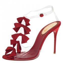 Christian Louboutin Red Satin and PVC Bow Bow Slingback Sandals Size 39
