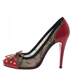 Christian Louboutin Red Spike Leather and Black Lace Candy Pumps Size 38.5