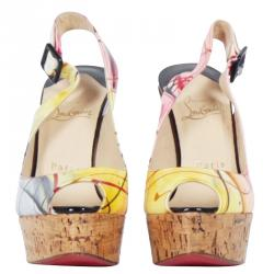 Christian Louboutin Multicolor Printed Une Plume Cork Slingback Wedges Size 37.5