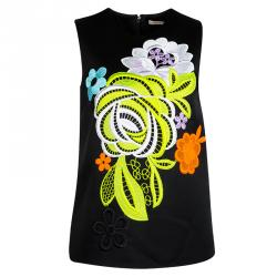 Christopher Kane Black Contrast Lace Applique Detail Sleeveless Top S