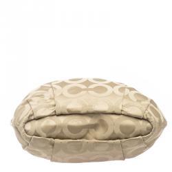 Coach Beige Signature Fabric Lindsey Shoulder Bag