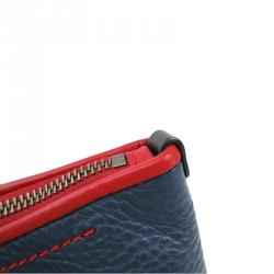 Cole Haan Red/Blue Pebbled Leather Tassel Shopper Tote