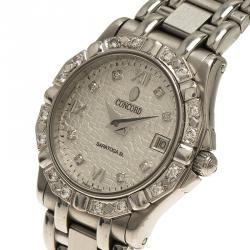Concord Silver Stainless Steel Diamond Saratoga Women's Wristwatch 24MM