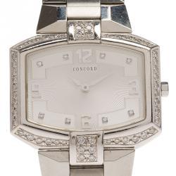 cc36361bd Concord Silver Stainless Steel La Scala Tonneau Horizontal Diamonds Women's  Wristwatch 38MM
