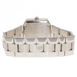 Concord Silver Stainless Steel La Scala Tonneau Horizontal Diamonds Women's Wristwatch 38MM