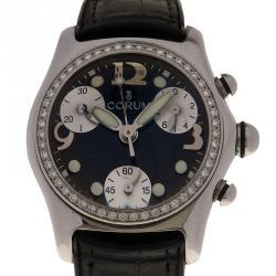 Corum Black Stainless Steel Diamond Bubble Women's Wristwatch 34MM