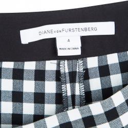 Diane Von Furstenberg Monochrome Gingham Plaid Genesis Top and Pant Set S