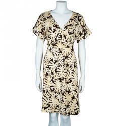 Diane Von Furstenberg Toby Brown Wrap Dress L