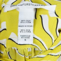 Diane von Furstenberg Yellow Print Tassel Tie-up Tunic Dress M