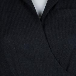Diane Von Furstenberg Dark Grey Worsted Wool Griffith Wrap Dress M