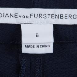 Diane Von Furstenberg Navy Blue Boymuda Shorts  M