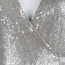 Diane Von Furstenberg Silver Sequin Embellished Sleeveless Yahzi Wrap Gown S