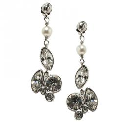 Dior Crystal Silver Tone Drop Earrings