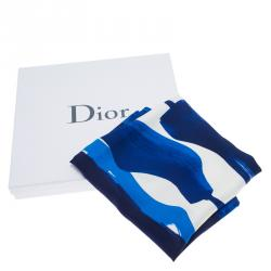 Dior Blue Printed Square Scarf