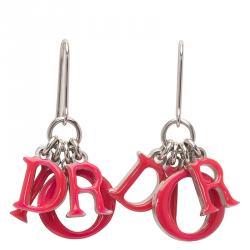 Dior Letter Charms Pink Enamel Silver Tone Dangle Earrings