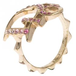 Dior Pink Crystal Studded Logo Gold Tone Ring Size 51