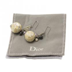 Dior Logo Mother Of Pearl Mosaic Ball & Faux Pearl Silver Tone Hook Drop Earrings
