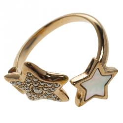 Dior Mother of Pearl & Crystal Stars Rose Gold Tone Ring Size 49