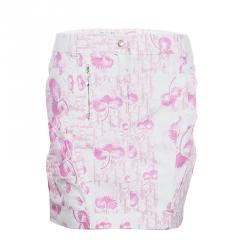 Dior Pink and White Cotton Skirt M