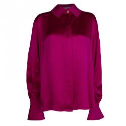 Dior Boutique Pink Silk Long Sleeve Oversized Blouse XL