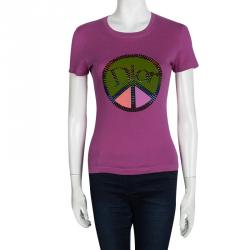 Dior Boutique Embellished Logo Pink T-Shirt S