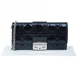 Dior Black Patent Leather Cannage Quilted New Lock Wallet