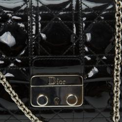 Dior Black Patent Leather New Lock Chain Clutch Bag