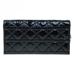 f72fdce9e0f5 Dior Black Cannage Quilted Patent Leather Lady Dior Clutch