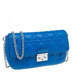 Dior Blue Cannage Quilted Lambskin Miss Dior Promenade Pouch Clutch Bag