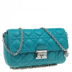 Dior Turquoise Leather New Lock Chain Clutch Bag