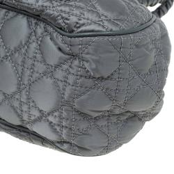 Dior Metallic Green Cannage Quilted Satin Charming Doctor Bag