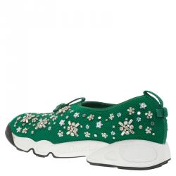 Dior Green Mesh Fusion Embellished Sneakers Size 41
