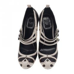 Dior Black and White Leather Mary Jane Pumps Size 36.5