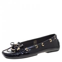 dc8d1c2b7b4 Dior Black Patent Leather Metal Twist Moccasins Size 38.5