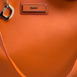 DKNY Orange Leather Large Tote