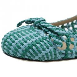 Dolce and Gabbana Green Woven Leather Ballet Flats Size 40