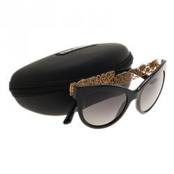 Dolce and Gabbana Black Filigree Cat Eye Sunglasses