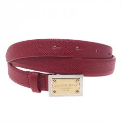 Dolce and Gabbana Red Leather Logo Plaque Skinny Belt 75CM