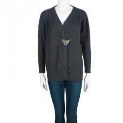 Dolce and Gabbana Grey Cashmere Safety Pin Cardigan S