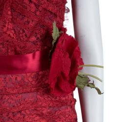 Dolce and Gabbana Red Floral Brooch Detail Strapless Lace Dress S