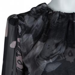 Dolce and Gabbana Floral Printed Sheer Silk and Lace Dress M