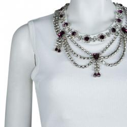 Dolce and Gabbana White Rib Jersey Embellished Necklace Detail Sleeveless Tank Top M