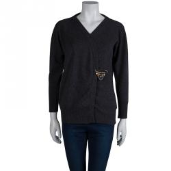 Dolce and Gabbana Grey Cashmere Crossover Cardigan M