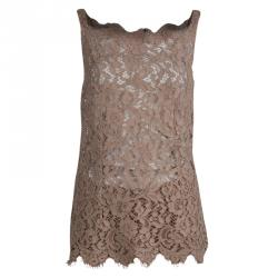 Dolce and Gabbana Beige Lace Sleeveless Top and Shorts Set M
