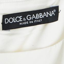 Dolce and Gabbana Cream Sleeveless Belted Dress M