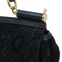 Dolce and Gabbana Black Lace and Leather Medium Miss Sicily Bag
