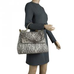 72adbd47a61 Dolce and Gabbana Grey Lace Print Leather Medium Miss Sicily Top Handle Bag