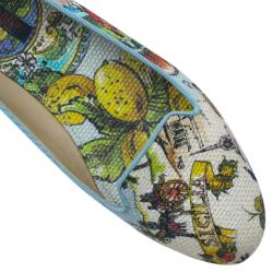Dolce and Gabbana Multicolor Canvas Sicilia Printed Smoking Slippers Size 39