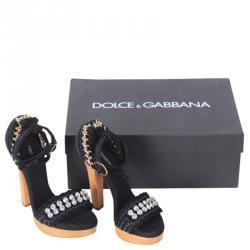 Dolce and Gabbana Blue Embellished Raffia Ankle Strap Platform Sandals Size 40